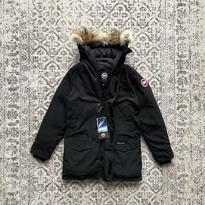 NWT Canada Goose Langford Black Parka With Removable Fur Trim